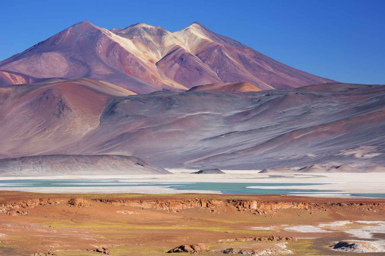 Salar de Talar and surrounding volcanoes, Atacama Desert, Chile