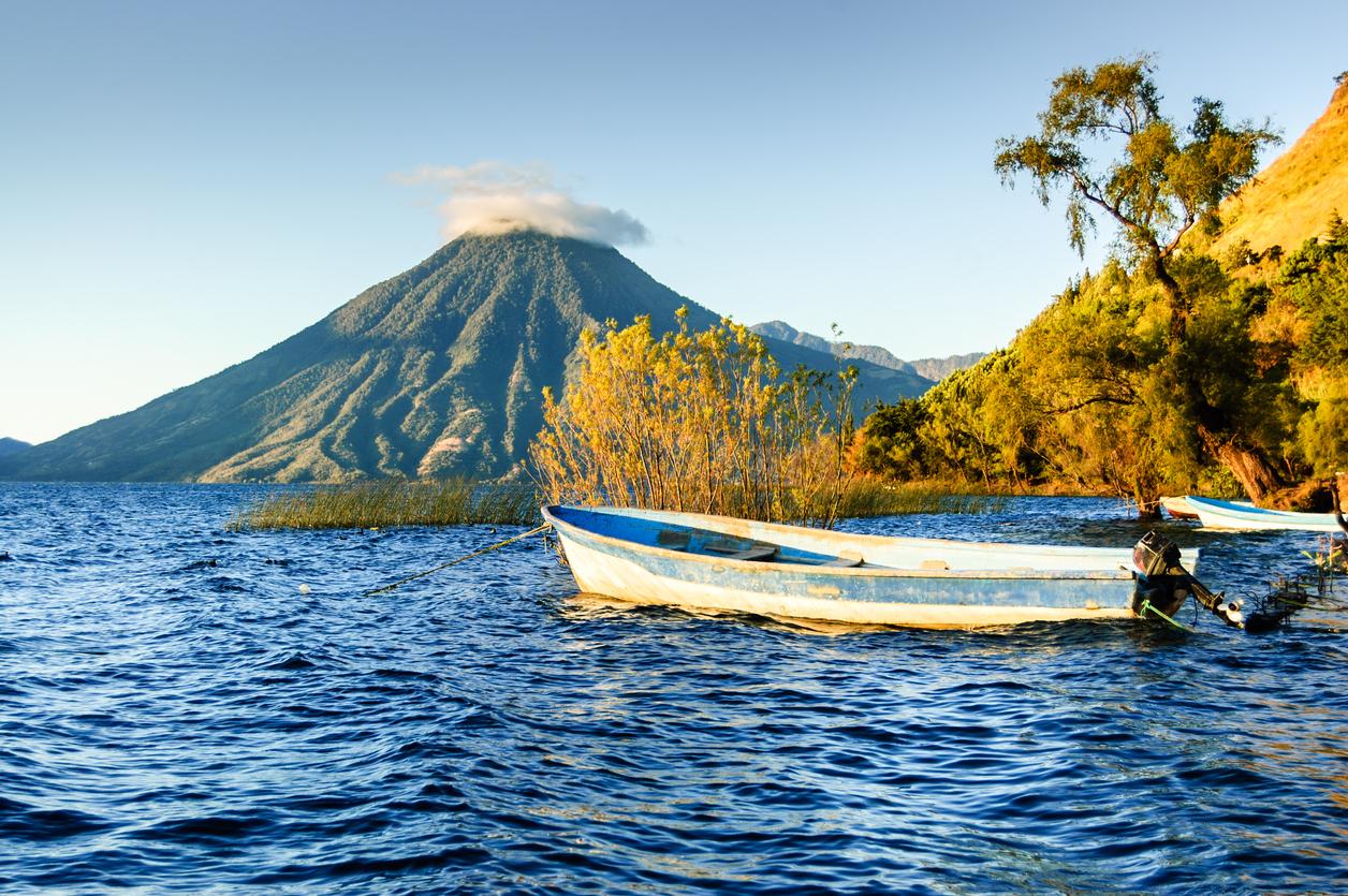 San Pedro Volcano on Lake Atitlan in Guatemalan highlands