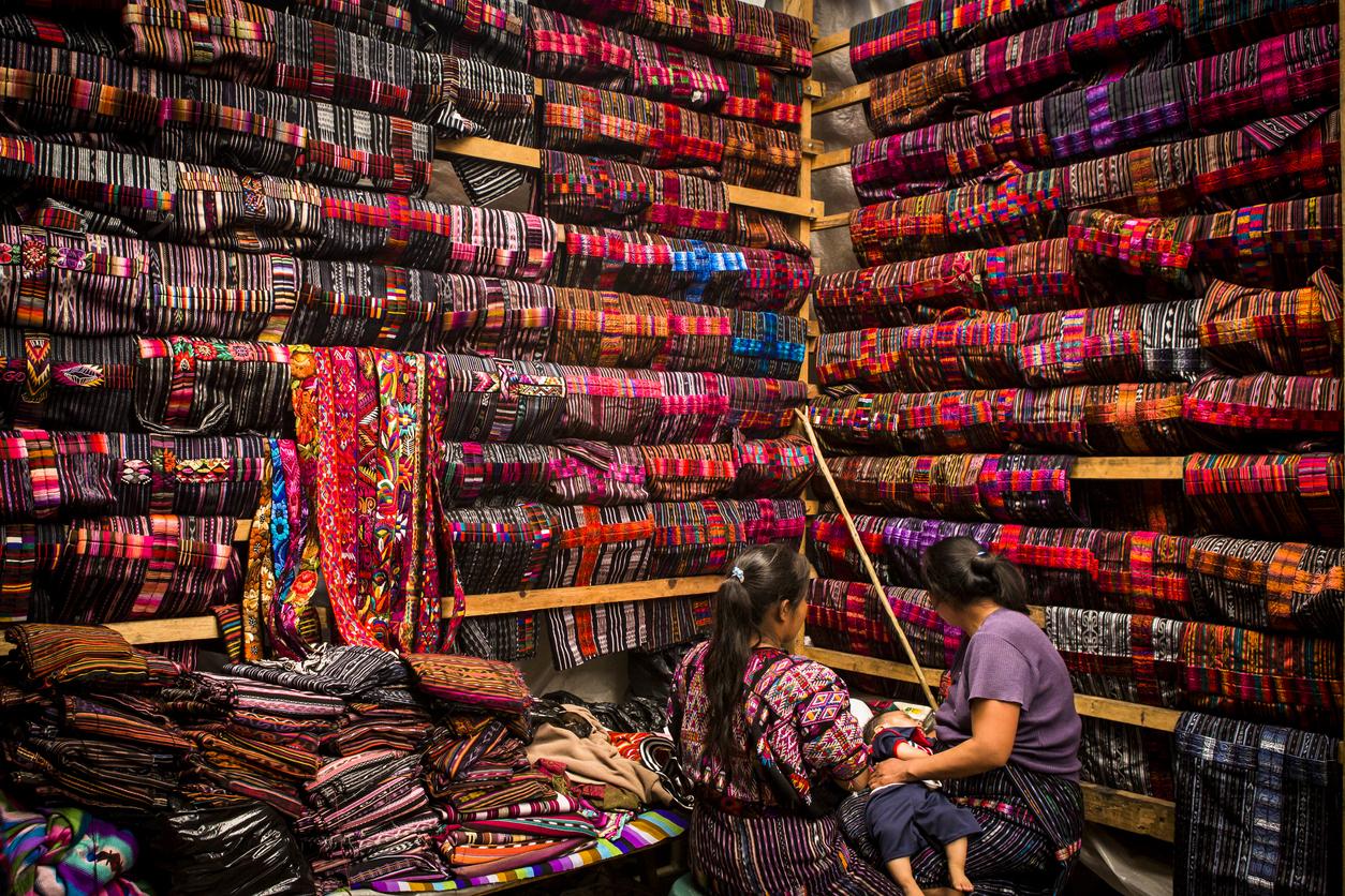 Fabric market at Chichicastenango.